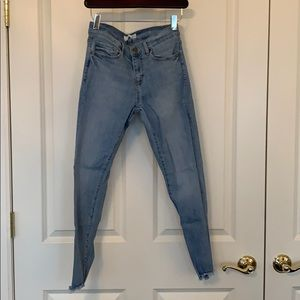Light wash, distressed, cropped skinny jeans